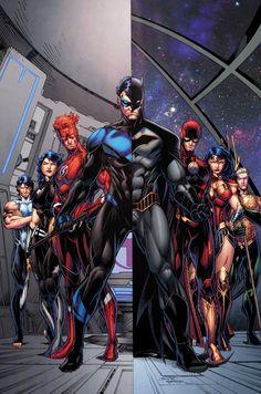 TITANS_ANNUAL_1Batman, The Flash, Wonder Woman y Aquaman!  Aliados juntos contra un enemigo común, los mentores y protegidos deben competir contra el reloj para desbloquear el secreto de su situación actual y salvar al planeta de una invasión extraterrestre!