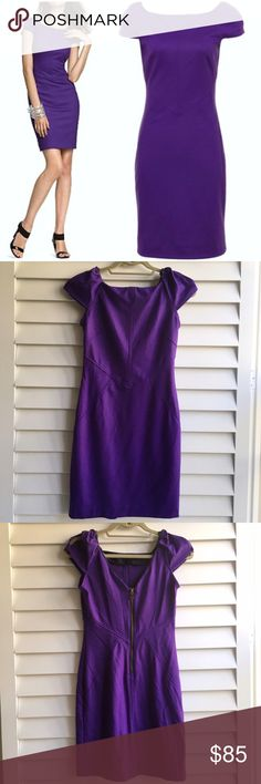 """DVF Helen Dress Wide neck dress with seam details on the bodice.  Short cap sleeves with open detail.  Strait skirt with V back and exposed zipper.  Royal grape color.  Worn once and in excellent condition with no visible signs of wear. 34"""" long and 31"""" long.  Size 6 but runs small and fits more like a 4. Diane von Furstenberg Dresses Mini"""