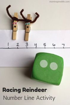 Racing Reindeer Number Line Activity. Develop counting and number recognition skills while getting fine motor practice! this could be adapted for first or second grade with a different number line then students add the number of tens or hundreds shown on the dice!