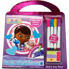 Doc McStuffins Time for a Check-Up Magic Reveal Pad by Tara Toys. $21.99. Use the Doc McStuffins Time for a Check-Up Magic Reveal Pad to diagnosis the patient. Each page will have a fun activity that will help kids figure out what is wrong with Doc's toys. Reveal the diagnosis and add sticker band aides to the area to fix?em up. Includes 1 Marker, 5 Crayons, 32 Magic Reveal Pages, 32 Line Art Pages and Stickers.. Use the Doc McStuffins Time for a Check-Up Magic Re...
