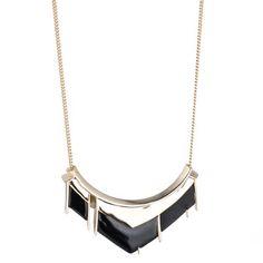 Matte Black Crescent Pendant Necklace
