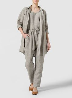 Linen L/S Solid Basic Snap Front Long Blouse Set - Embrace what the day brings in this pants. Soft drape and angled patterning define the easy going style.