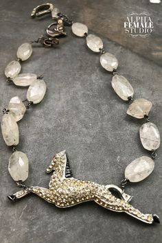 Vintage Horse Assemblage Necklace Justify Triple Crown Horse Racing Equestrian Herkimer Diamonds Lucky Horseshoe Kentucky Derby