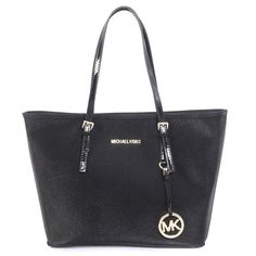 Yes please for Christmas :) Michael Kors Jet Set Saffiano Travel Large Black Totes