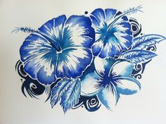 hawaiian scene paintings | Hawaiian Hibiscus
