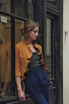 gorgeous | Mustard statement jacket, high-waisted navy pant