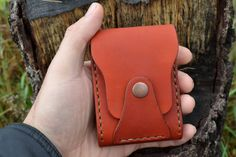 Leather Wallet-Men Wallet-Leather Card Holder Leather-Handmade Terracotta. $35.00, via Etsy.