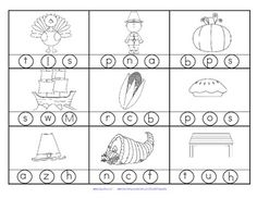 FREE 2 printables with 18 pictures in b/w with a Thanksgiving theme. Stamp or color the correct beginning sound.