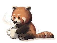 Red panda and coffee (or hot chocolate) -Ryan! http://ryannotbrian.tumblr.com/