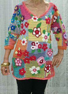 Type:FloralSleeve Type:Half SleeveMaterial:KnittedOccasion:Daytime,Going Crochet Tunic Pattern, Crochet Jumper, Crochet Jacket, Crochet Blouse, Crochet Baby, Knit Crochet, Knitting Patterns, Crochet Patterns, Crochet Waistcoat