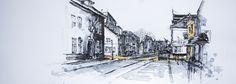 St. Annastraat, Vesting Naarden, the Netherlands. Lex Hamers Drawing on paper, 70 x 25 cm. 18/03/2013