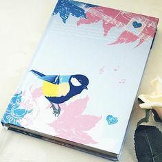 Vintage Bird Fabric Notebook