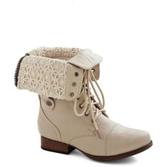 ModCloth Military Munich of Time Boot ($45) ❤ liked on Polyvore featuring shoes, boots, cream, boot - bootie, flat boot, fold over ankle boots, short lace up boots, flat lace up boots, military boots and tall flat boots