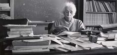 Albert Einstein at his desk in his office at Princeton. Published by Life magazine in 1955