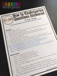 New to Kindergarten Cheat Sheet