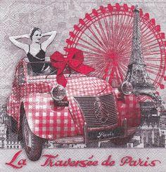 Decoupage napkin Retro  La Traverse  de Paris  por Dalilasdecoupage