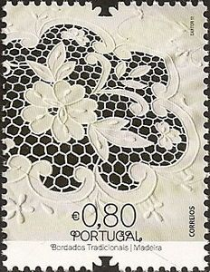 Traditional Portuguese Embroideries, Madeira. Stamp printed in Portugal  2011
