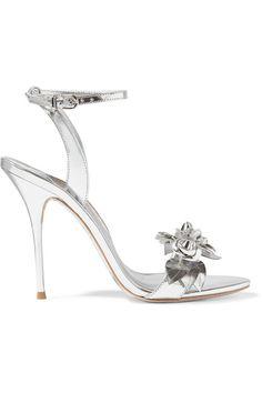 Sophia Webster - Lilico Appliquéd Metallic Leather Sandals - Silver - IT Sophia Webster, Ankle Strap Heels, Ankle Straps, Stilettos, Bridal Shoes, Wedding Shoes, Topshop Unique, Prom Heels, Evening Shoes