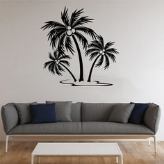 Palm Tree Vinyl Decal Palm Wall Sticker Tree by AndreadecalS.   $23.99.  On etsy.  MORE COLORS AVAILABLE