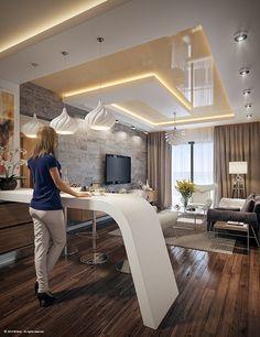 House Ceiling Design, Ceiling Design Living Room, Bedroom False Ceiling Design, Kitchen Room Design, Modern Kitchen Design, Interior Design Living Room, Living Room Designs, Living Rooms, Office Light