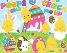 80% OFF SALE Easter clipart commercial use от Prettygrafikdesign
