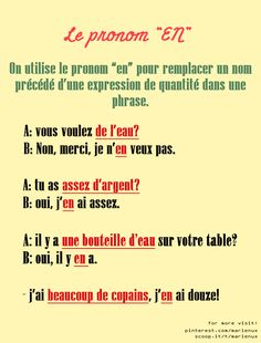 "Le pronom "" EN"" 