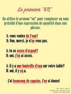 """Le pronom """" EN""""."""