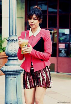 Kourtney Kardashian Sporting A Cute Outfit By Wearing A White Button-Up: Pink Blazer: And Pink, Leafed Shorts!