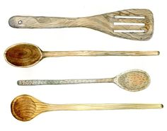Wooden Kitchen Spoon Painting - Large Watercolor Kitchen Art Print - 11x14. $34.00, via Etsy. emproud