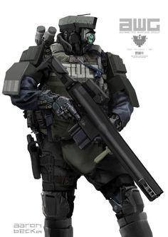 Jack in: Aaron Beck and The Art of Modern Cyberpunk Cyberpunk, Robot Concept Art, Armor Concept, Gundam, Arte Robot, Sci Fi Armor, Future Soldier, Futuristic Art, Futuristic Armour