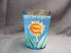 EAPG Blue Enamel Tumbler  Sunflower Glass Tumbler