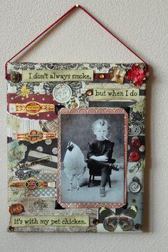 Smokin' with my chicken collage by divinehippie on Etsy,