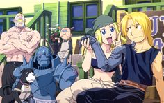 Tags: Fullmetal Alchemist, Winry Rockbell, Edward Elric, Alphonse Elric, Fullmetal Alchemist Brotherhood, Alex Louis Armstrong, Pinako Rockbell, Official Art, Elric Brothers