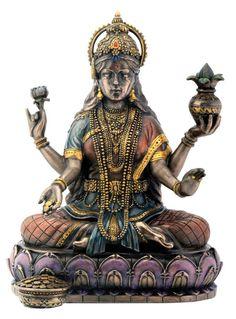 Bronze Hindu Goddess Lakshmi On Lotus Hinduism Display Statue #Summit