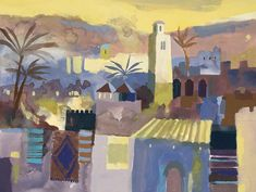 'Marrakesh' by Richard Tuff UK) Landscape Paintings, Landscapes, Painter Artist, Building Art, St Ives, Mixed Media Painting, Creative Inspiration, Contemporary Art, Watercolor