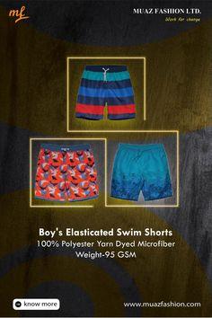 Boy's Elasticated Swim Shorts #MuazFashion 100% Polyester Yarn Dyed Microfiber Weight-95 GSM #summeroutfit #sportswear #swimwear #shorts #summer #tshirt #streetwear #travel #swimsuit #gymwear #fitness #beachwear #workout #outfit #trunks #sweatshirts #mensactivewear #travelclothes #denimwear Garments Business, Mens Activewear, Gym Wear, Swimsuits, Swimwear, Swim Shorts, Beachwear, Streetwear, Sportswear