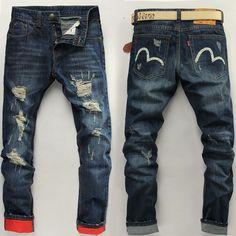 France designer new autumn and winter men's jeans men's jeans embroidered Italian brand men's models => Price : $29.80