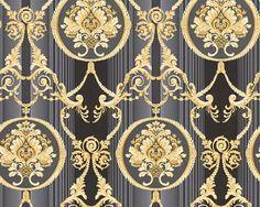 Barock Ornament schwarz gold grau metallic, Vliestapete AS Creation, Hermitage Curtain Patterns, Textile Patterns, Textile Design, Victorian Home Decor, Victorian Design, Switch Plate Covers, Light Switch Covers, Switch Plates, Damask Curtains