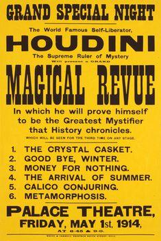 Houdini Magical Revue. Vintage magic poster.