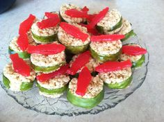 "Ninjago party: Rice Krispie Treat ""sushi"" - with fruit strips and Swedish Fish"