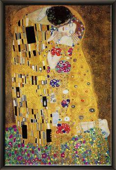 «Le baiser» de Gustav Klimt encadré impression de peinture à l'huile sur toile
