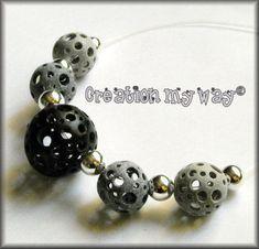 """Collier de perles """"Holes"""" en Fimo - Création my way"""