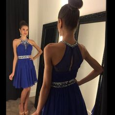 Sparkly Prom Dress, royal blue homecoming dress chiffon halter homecoming dress short homecoming dress best homecoming dress dresses for homecoming Ball Gown Prom Dresses Short, Sweet 16 Dresses, Sweet Dress, Cute Dresses, Cheap Dresses, Formal Dresses, Dresses 2016, Dresses Dresses, Simple Dresses