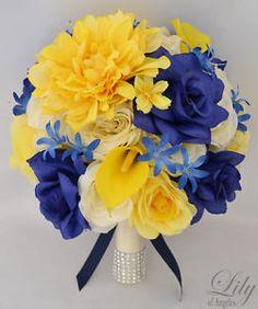 17pcs Wedding Bridal Bouquet Silk Flower Decoration Package Yellow Blue Navy | eBay
