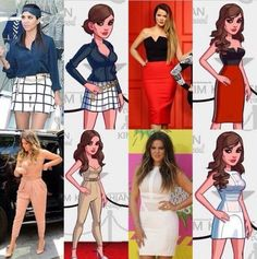 Khloe's and Kourtney's outfits in the game and in real life!!!