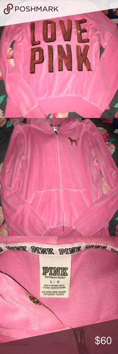 Love pink bling hoodie Love pink bling hoodie size large. Great condition. So soft and velvety. No pilling. String is missing from hoodie part. Not my style anymore. Needs a good home. Jackets & Coats