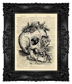 Dark Art goth Art Horror Art Skull Print Gothic Art Print Dark Painting Zombie Print Gothic Decor Goth Paint Dark paintings Victorian gothic decor Gothic decor