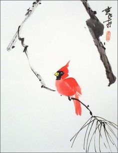 kcardinal-on-pine.jpg (463×599) Featured artist: #JanZaremba #brushpainting#sumie http://www.asianbrushpainter.com/blog/gallery/jan-zaremba/