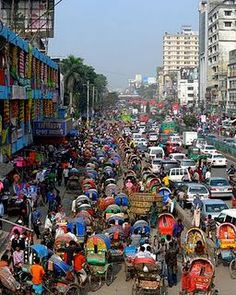 Experiencing traffic in Dhaka, Bangladesh.