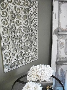 "#DIY ""Iron"" Wall Decor from Inexpensive Black Rubber Mat! Easy Elegance<3   http://salvagedior.blogspot.com/2012/01/rubber-door-mat-wall-art.html"